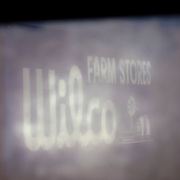 Wilco Farm stores lighted signage shot at night through rain covered car window in Portland Oregon.