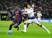 Football - 2018 / 2019 UEFA Champions League - Group B: Tottenham Hotspur vs. Barcelona<br /> <br /> Heung - Min Son of Tottenham and Nelson Semedo, at Wembley Stadium.<br /> <br /> COLORSPORT/ANDREW COWIE