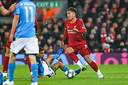 Liverpool forward Roberto Firmino (9) in action during the Champions League match between Liverpool and Napoli at Anfield, Liverpool, England on 27 November 2019.