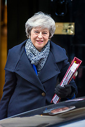 © Licensed to London News Pictures. 16/01/2019. London UK. Prime Minister Theresa May leaves number 10 Downing Street this morning after her brexit deal was voted down in Parliament last night. Photo credit: Andrew McCaren/LNP
