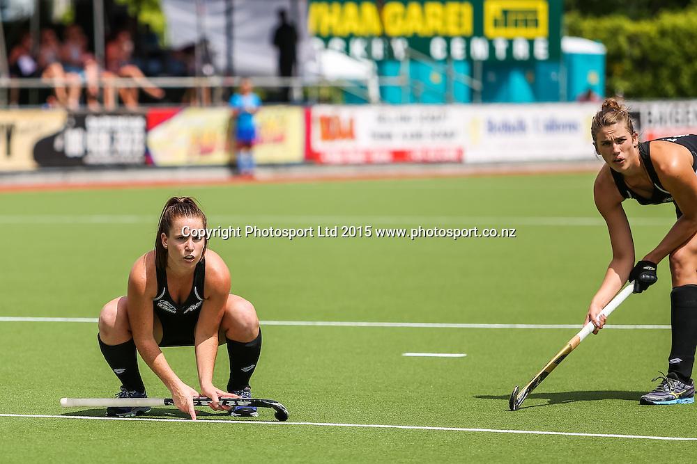 Ella Gunson looks to stop the penalty corner pass for Brooke Neal. International Womens Hockey. New Zealand Black Sticks v Canada. Whangarei. New Zealand. Sunday 8 February 2015. Copyright Photo: Heath Johnson / www.photosport.co.nz