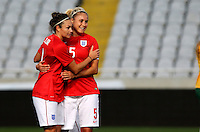 Fifa Womans World Cup Canada 2015 - Preview //<br /> Cyprus Cup 2015 Tournament ( Gsp Stadium Nicosia - Cyprus ) - <br /> Australia vs England 0-3   // Jodie Taylor of England , celebrates after his 2nd Goal (0-2) with team mates Steph Houghton (R) and Jordan Nobbs (Back)