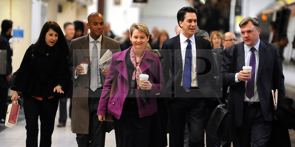 © Licensed to London News Pictures. 16/03/2012. London, UK. (left to right) Rachel Reeves MP,  Chuka Umunna MP, Yvette Cooper MP, Ed Miliband MP, Ed Balls MP. Leader of the Labour Party, Ed Miliband and members of his Shadow Cabinet travel to Labour's Youth Conference in Coventry this morning, 16 March 2012, by train from London Euston Station. Photo credit : Stephen SImpson/LNP