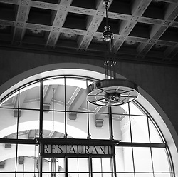 Architectural detail of Union Station in Los Angeles. The train station is the largest passenger terminal in the Western United States, opened in 1939. Today is serves nearly 110,000 passengers a day with Amtrak long distance trains and local Metrolink commuter trains, subway and light rail.