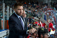 KELOWNA, CANADA - APRIL 14: Portland Winterhawks' assistant coach Oliver David fist pumps players on the bench against the Kelowna Rockets on April 14, 2017 at Prospera Place in Kelowna, British Columbia, Canada.  (Photo by Marissa Baecker/Shoot the Breeze)  *** Local Caption ***