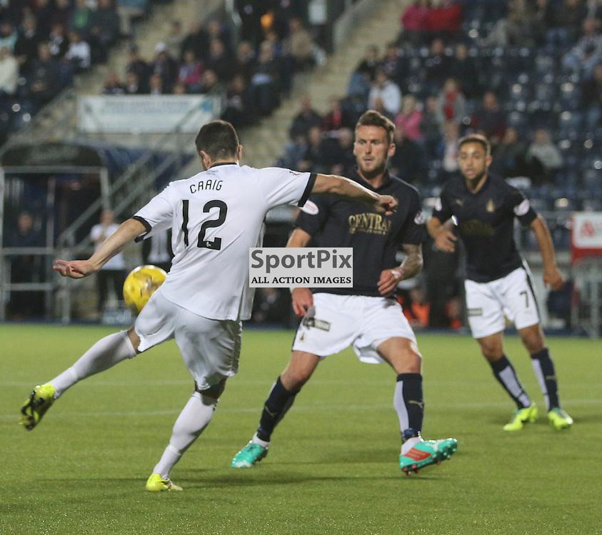 Dumbartons Steven Craig tries a shot during the Falkirk FC v Dumbarton FC  Scottish Championship 28th August 2015 <br /> <br /> (c) Andy Scott | SportPix.org.uk