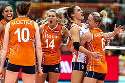 15-10-2018 JPN: World Championship Volleyball Women day 16, Nagoya<br /> Netherlands - USA 3-2 / Celeste Plak #4 of Netherlands, Laura Dijkema #14 of Netherlands, Myrthe Schoot #9 of Netherlands, Maret Balkestein-Grothues #6 of Netherlands