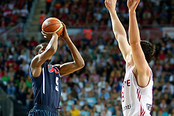 Andre Iguoala of USA vs Ersan Ilyasova of Turkey during the finals basketball match between National teams of Turkey and USA at 2010 FIBA World Championships on September 12, 2010 at the Sinan Erdem Dome in Istanbul, Turkey.   (Photo By Vid Ponikvar / Sportida.com)
