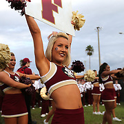 A Florida State cheerleader is seen prior to an NCAA football game between the Ole Miss Rebels and the Florida State Seminoles at Camping World Stadium on September 5, 2016 in Orlando, Florida. (Alex Menendez via AP)