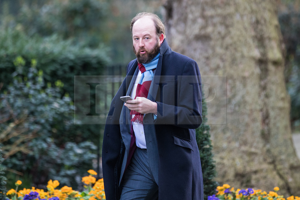 © Licensed to London News Pictures. 07/03/2017. London, UK. Advisor to the Prime Minister Nick Timothy on Downing Street. The government is set to deliver the budget tomorrow, Wednesday 8 March 2017. Photo credit: Rob Pinney/LNP