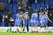 Brighton and Hove Albion midfielder Dale Stephens (6) is spoken to by Brighton and Hove Albion defender Gaetan Bong (3) after his goal during the The FA Cup 3rd round match between Brighton and Hove Albion and Crystal Palace at the American Express Community Stadium, Brighton and Hove, England on 8 January 2018. Photo by Phil Duncan.