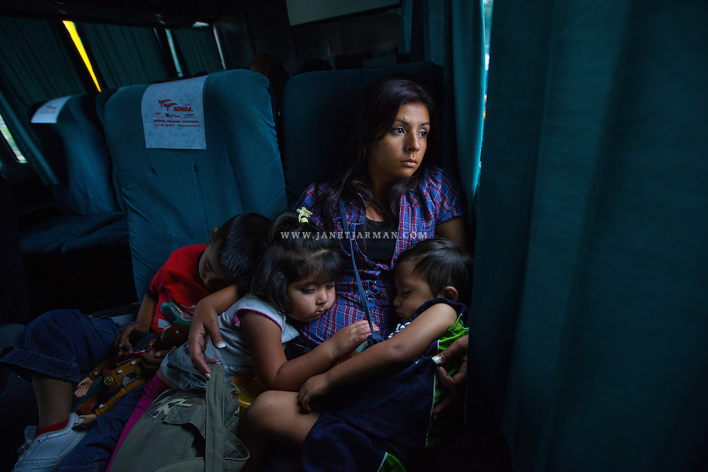 Querétaro, Mexico, 2011 - Marisol and her children endure a 28-hour bus ride from Mexico City to Dallas, Texas at the end of her three-week stay at her in-laws. Traveling by bus has become increasingly dangerous, and she vowed never to travel this way again. During a previous bus ride, gunmen came onboard. They robbed everyone but her. She believes they skipped her out of empathy that she was a young mother traveling alone with children.