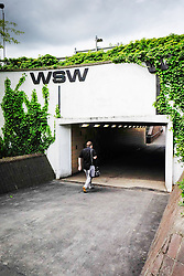 A pedestrian walking through an underpass. Basildon Essex