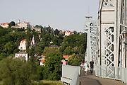 Elbe, Loschwitz, Blaues Wunder, Weisser Hirsch, Dresden, Sachsen, Deutschland.|.Dresden, Germany, river Elbe in Loschwitz, bridge Blue Wonder, White Stag on the hill