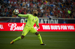 September 1, 2017 - Harrison, New Jersey, U.S - USMNT goalkeeper TIM HOWARD (1) throws the ball upfield during a World Cup qualifier match at Red Bull arena in Harrison, NJ.  Costa Rica defeats USA 2 to 0. (Credit Image: © Mark Smith via ZUMA Wire)