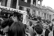 Never Mind the Ballots banner, Reclaim the Streets, Trafalgar Square, London, May 1997