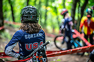 During Junior and Women's DH practice at the 2019 UCI Mountain Bike World Championships in Mont-Sainte-Anne, Canada.