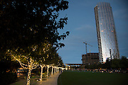 Museum Tower seen from Klyde Warren Park in Dallas, Texas on November 17, 2016. (Cooper Neill for The New York Times)