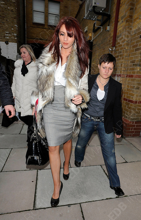20.NOVEMBER.2010. LONDON<br /> <br /> THE ONLY WAY IS ESSEX STAR AMY CHILDS BEING ESCORTED OUT THE BACK DOOR OF HARRODS BECAUSE OF A FUR PROTEST OUTSIDE THE FRONT DOOR.<br /> <br /> BYLINE: EDBIMAGEARCHIVE.COM<br /> <br /> *THIS IMAGE IS STRICTLY FOR UK NEWSPAPERS AND MAGAZINES ONLY*<br /> *FOR WORLD WIDE SALES AND WEB USE PLEASE CONTACT EDBIMAGEARCHIVE - 0208 954 5968*