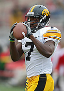 November 25, 2011: Iowa Hawkeyes wide receiver Marvin McNutt (7) pulls in a pass during warmups before the start of the NCAA football game between the Iowa Hawkeyes and the Nebraska Cornhuskers at Memorial Stadium in Lincoln, Nebraska on Friday, November 25, 2011. Nebraska defeated Iowa 20-7.
