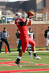 17 November 2012:  Jordan Neukirch catches a pass from Matt Brown for a touchdown during an NCAA Missouri Valley Football Conference football game between the North Dakota State Bison and the Illinois State Redbirds at Hancock Stadium in Normal IL