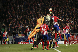 February 20, 2019 - Madrid, Spain - Wojciech Szczesny (Juventus)  wins the header from Diego Godin (Atletico de Madrid),   UCL Champions League match between Atletico de Madrid vs Juventus at the Wanda Metropolitano stadium in Madrid, Spain, February 20, 2019  (Credit Image: © Enrique De La Fuente/NurPhoto via ZUMA Press)
