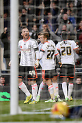 Ross McCormack celebrates Fulham's first goal during the Sky Bet Championship match between Fulham and Huddersfield Town at Craven Cottage, London, England on 8 November 2014.