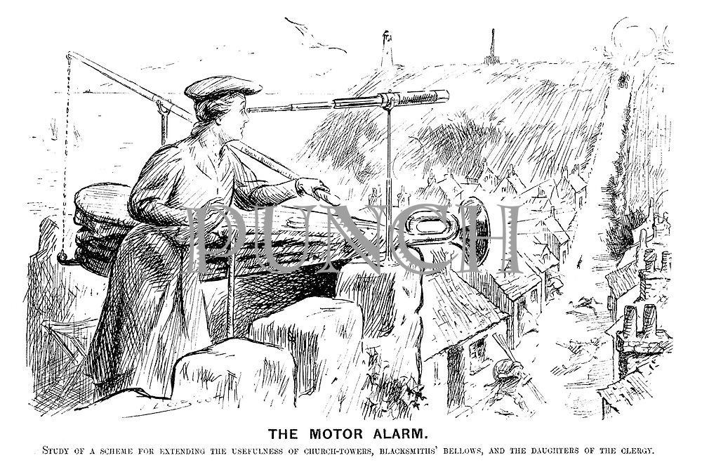 The Motor Alarm. Study of a scheme for extending the usefulness of church-towers, blacksmiths' bellows, and the daughters of the clergy.