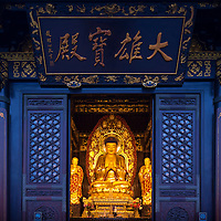 China, Xi'an, Golden Buddha statue inside Big Wild Goose Pagoda