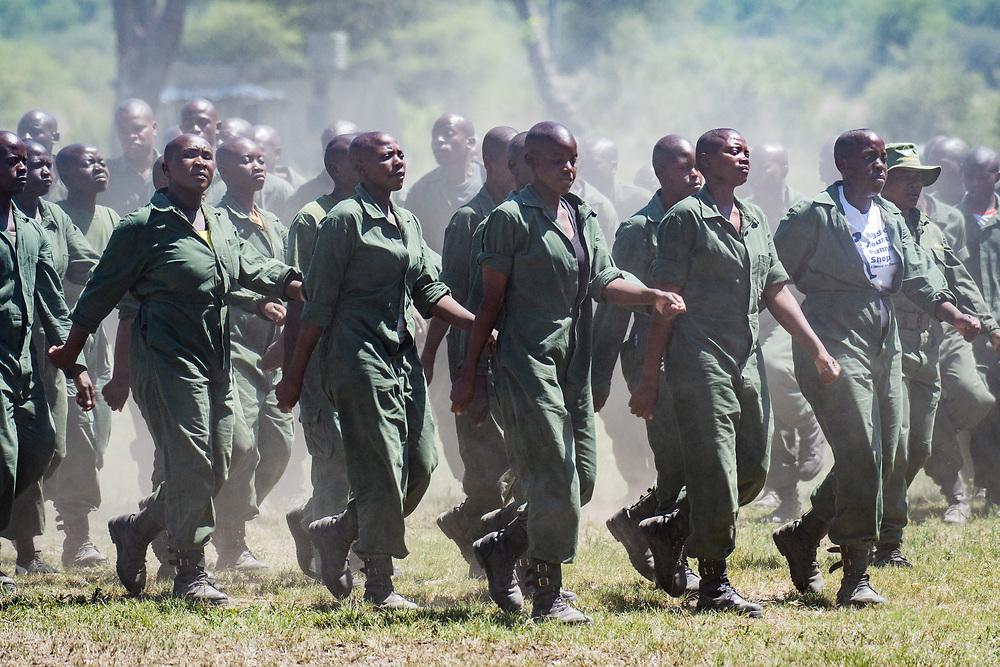 Park Rangers practicing running drills for the Hawange National Park training. Hwange, Zimbabwe