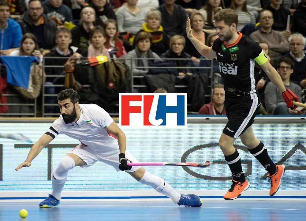BERLIN - Indoor Hockey World Cup<br /> SF1 Germany - Iran<br /> foto: Behdad Beiranvand and Martin H&auml;ner <br /> WORLDSPORTPICS COPYRIGHT FRANK UIJLENBROEK