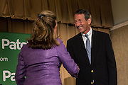 Elizabeth Colbert Busch the democratic candidate for the open Congressional seat greets Gov. Mark Sanford the Republican candidate before their debate at the Citadel on April 29, 2013 in Charleston, South Carolina.