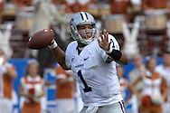 September 29, 2007 - Austin, TX..Quarterback Josh Freeman of the Kansas State Wildcats looks down field to pass in the first quarter against the Texas Longhorns, during a NCAA football game at Darrell Royal-Texas Memorial Stadium on September 29, 2007...FBC:  The Wildcats defeated the Longhorn 41-21.  .Photo by Peter G. Aiken/Cal Sport Media
