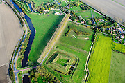 Nederland, Zeeland, Zeeuws-Vlaanderen, 19-10-2014; Fort Berchem, omgeving van Retranchement, onderdeel van de Staats-Spaanse Linies. Reconstructie op basis van archeologisch onderzoek.<br /> Fortress, near village of Retranchement, on the border with Belgium. <br /> Reconstruction based on archaeological research.<br /> luchtfoto (toeslag op standard tarieven);<br /> aerial photo (additional fee required);<br /> copyright foto/photo Siebe Swart