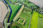 Nederland, Zeeland, Zeeuws-Vlaanderen, 19-10-2014; Fort Berchem, omgeving van Retranchement, onderdeel van de Staats-Spaanse Linies. Reconstructie op basis van archeologisch onderzoek.<br /> Fortress, near village of Retranchement, on the border with Belgium. <br /> Reconstruction based on archaeological research.<br /> luchtfoto (toeslag op standard tarieven);<br /> aerial photo (additional fee required);<br /> copyright foto/photo Siebe Swart