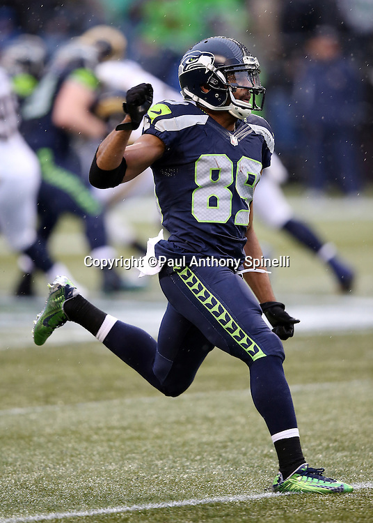 Seattle Seahawks wide receiver Doug Baldwin (89) goes out for a pass during the 2015 NFL week 16 regular season football game against the St. Louis Rams on Sunday, Dec. 27, 2015 in Seattle. The Rams won the game 23-17. (©Paul Anthony Spinelli)