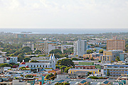 View of The Catedral de Nuestra Señora de Guadalupe and skyline from Vigia Hill February 21, 2009 in Ponce, Puerto Rico.