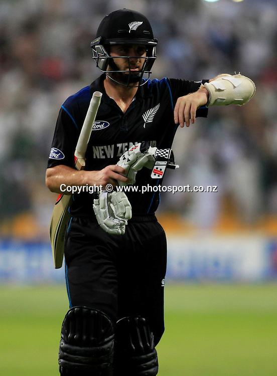 Pakistan vs New Zealand, 19th December 2014. Kane Williamson walks towards pavilion after his dismissal in the 5th ODI in Abu Dhabi