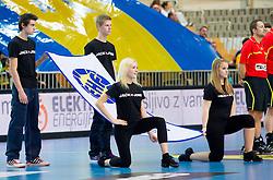 EHF's flag during handball match between RK Cimos Koper and HCM Constanta in 10th Round of season 2011/2012 of EHF Men's Champions League, on February 25, 2012 in Arena Bonifika, Koper, Slovenia. Cimos Koper defeated Constanta 28-24. (Photo By Vid Ponikvar / Sportida.com)