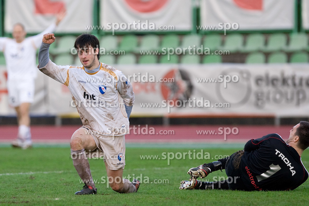Goran Galesic of Gorica scored vs Goalkeeper of Interblock Andrej Troha  at football match of 25th Round of 1st Slovenian League  between NK Interblock and NK Hit Gorica, on March 31, 2010, in ZAK Stadium, Ljubljana, Slovenia. Gorica defeated Interblock 5-0. (Photo by Vid Ponikvar / Sportida)