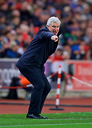 STOKE-ON-TRENT, ENGLAND - Wednesday, November 29, 2017: Stoke City's manager Mark Hughes reacts during the FA Premier League match between Stoke City and Liverpool at the Bet365 Stadium. (Pic by David Rawcliffe/Propaganda)