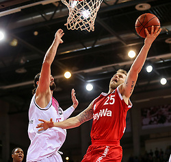 28.03.2016, Telekom Dome, Bonn, GER, Beko Basketball BL, Telekom Baskets Bonn vs FC Bayern Muenchen, 23. Runde, im Bild vl. Dirk Maedrich (Bonn, #5), Anton Gavel (Muenchen, #25) // during the Beko Basketball Bundes league 23th round match between Telekom Baskets Bonn and FC Bayern Munich at the Telekom Dome in Bonn, Germany on 2016/03/28. EXPA Pictures © 2016, PhotoCredit: EXPA/ Eibner-Pressefoto/ Horn<br /> <br /> *****ATTENTION - OUT of GER*****
