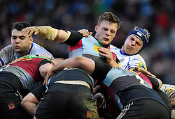 Forwards wrestle for possession at a maul - Photo mandatory by-line: Patrick Khachfe/JMP - Mobile: 07966 386802 31/01/2015 - SPORT - RUGBY UNION - London - The Twickenham Stoop - Harlequins v Bath Rugby - LV= Cup