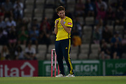Liam Dawson of Hampshire celebrates the wicket of John Simpson during the Vitality T20 Blast South Group match between Hampshire County Cricket Club and Middlesex County Cricket Club at the Ageas Bowl, Southampton, United Kingdom on 20 July 2018. Picture by Dave Vokes.