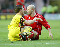 Photo. Andrew Unwin.<br /> Middlesbrough v Charlton Athletic, Barclaycard Premier League, Riverside Stadium, Middlesbrough 13/12/2003.<br /> Charlton's Scott Parker (l) and Middlesbrough's Danny Mills (r) exchange words.