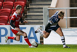 Bristol Rugby Winger Charlie Amesbury scores a try - Mandatory byline: Rogan Thomson/JMP - 22/01/2016 - RUGBY UNION - Ashton Gate Stadium - Bristol, England - Bristol Rugby v Ulster A - British & Irish Cup.