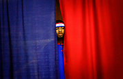 "Harlem Globetrotter ""Ant Atkinson"" peers out on the crowd gathered at their ""Magical Memories"" world tour held at the Robert Collins Arena at Brookdale Community College in Lincroft, New Jersey on March 16, 2010."