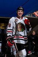 KELOWNA, CANADA - OCTOBER 21: Reece Newkirk #38 of the Portland Winterhawks enters the ice at the start of second period against the Kelowna Rockets on October 21, 2017 at Prospera Place in Kelowna, British Columbia, Canada.  (Photo by Marissa Baecker/Shoot the Breeze)  *** Local Caption ***