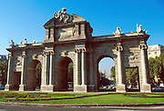 SPAIN, MADRID, MONUMENTS Puerta de Alcala in the Plaza de la Independencia is one of Madrid's most famous monuments and landmarks