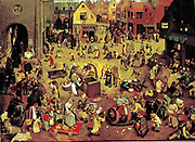 The Fight Between Carnival and Lent', 1559:  The annual Flemish pre-lent festival, providing an excusive for excessive drinking and sex was condemned as 'The Devil's Week'.   Pieter Brueghel the Elder (c1525-1569) Netherlandish Renaissance painter.